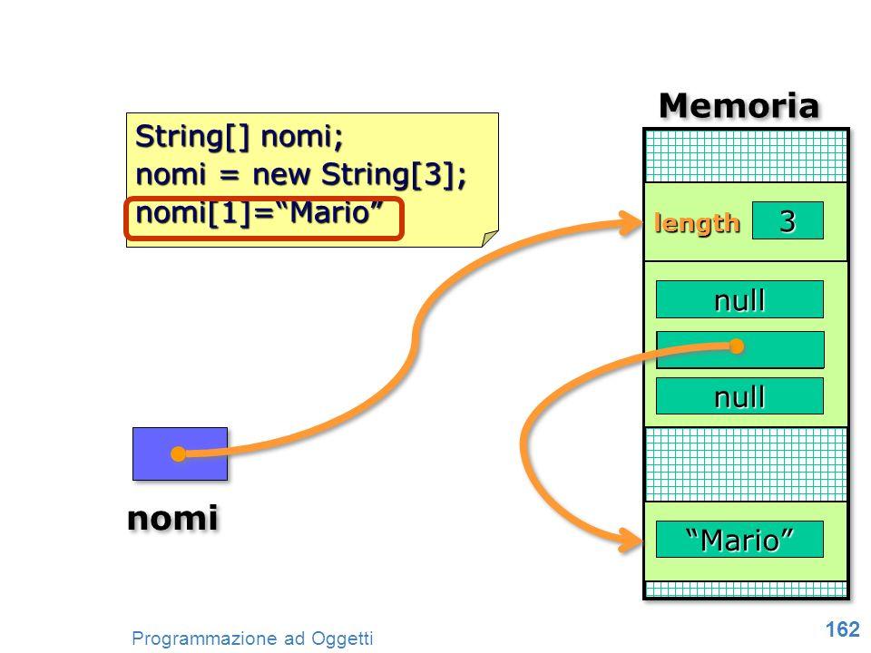 Memoria nomi String[] nomi; nomi = new String[3]; nomi[1]= Mario 3